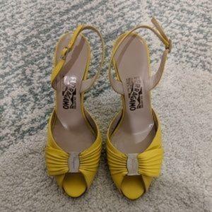 Authentic Salvatore Ferragamo Lemon Yellow Sandals